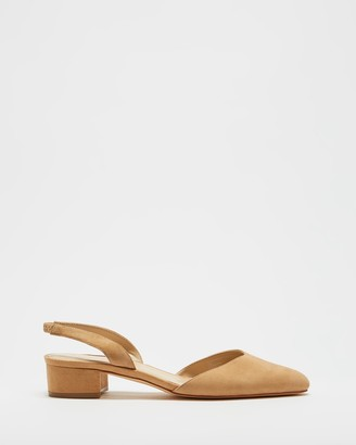 Atmos & Here Atmos&Here - Women's Neutrals Heeled Sandals - Zena Leather Slingback Heels - Size 6 at The Iconic