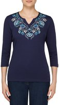 Allison Daley Notch V-Neck Floral Embroidered Knit Top