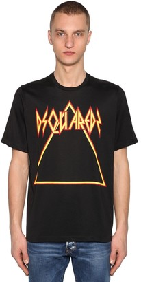 DSQUARED2 Printed Cotton Jersey & Viscose T-Shirt