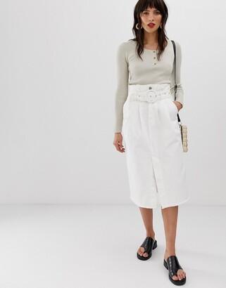 Neon Rose belted midi skirt with frayed hem in denim-White