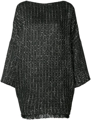 Talbot Runhof Boxy-Fit Tweed Dress