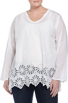 Johnny Was Shirred-Yoke Embroidered Eyelet Tunic, White, Women's