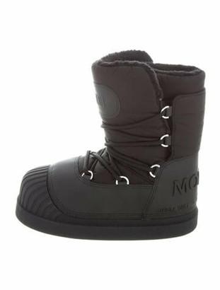 Moncler x Moon Boot Leather Trim Embellishment Snow Boots Black