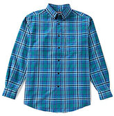 Roundtree & Yorke Long-Sleeve Large Plaid Oxford Sportshirt