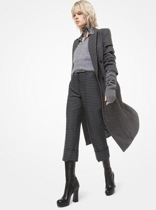 Michael Kors Herringbone Wool-Melton Crushed-Sleeve Coat