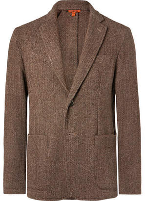 Barena Brown Slim-Fit Unstructured Herringbone Virgin Wool-Blend Blazer