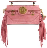 Balmain BBUZZ BAGUETTE 19 FRINGED SUEDE BAG