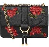 Dorothy Perkins Womens Black Floral Embroidered Shoulder Bag- Black