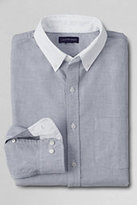 Classic Men's Tailored Fit Sail Rigger Contrast Collar Oxford Shirt-Gray