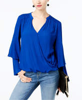 INC International Concepts Gauze Surplice Top, Created for Macy's