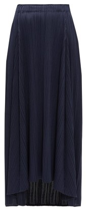 Pleats Please Issey Miyake High-rise Pleated Midi Skirt - Womens - Navy