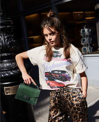 The Kooples Loose, ecru cotton car motif printed rock-style T-shirt