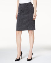 Kasper Herringbone Button-Front Skirt