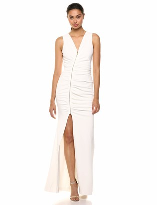 Dress the Population Women's Cher Exposed Zipper Plunging Long Gown Dress