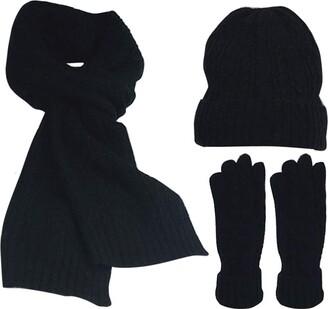 Feoya Women Lady 3-Piece Winter Set Thick Warm Wool Blended Hats Long Scarf & Full-Finger Gloves