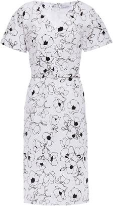 Oscar de la Renta Belted Floral-print Stretch-cotton Poplin Dress