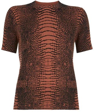 Mint Velvet Rust Croc Print Fitted Top