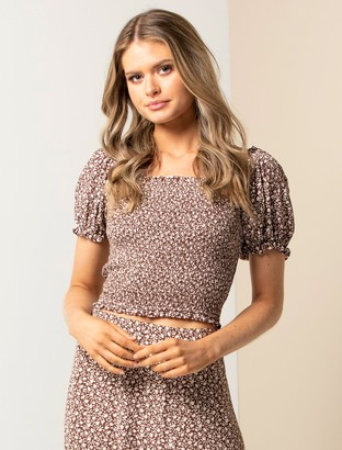 Forever New Hayley Petite Puff Shirred Co-ord Top - Chocolate Mini Vine Ditsy - 10