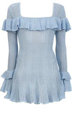 Self-Portrait Ruffled Lurex-Knit Mini Dress
