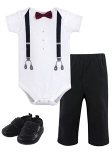Baby Vision Little Treasure Unisex Baby Bodysuit, Pant and Shoes, Man of Your Dreams, 3-Piece Set, 12-18 Months (18M)