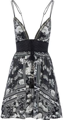 Camilla Wild Moonchild Lace-up Embellished Silk Mini Dress