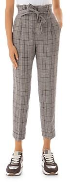 Peserico Cropped Check Print Linen Pants