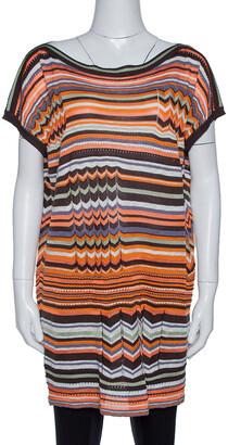 M Missoni Orange & Brown Striped Pointelle Knit Tunic Top M