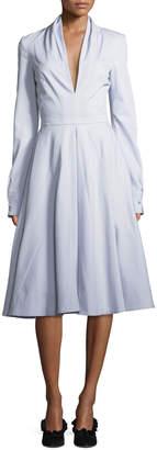 Brandon Maxwell Deep-V Long-Sleeve Cotton Twill Fit-and-Flare Midi Dress