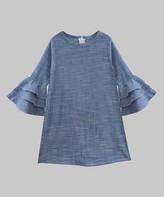Isa Belle A.T.U.N. Girls' Casual Dresses Blue - Blue Bell-Sleeve Slub Chambray Isabelle Dress - Infant, Toddler & Girls