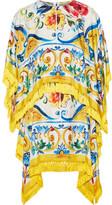 Dolce & Gabbana Fringed Printed Stretch Silk-blend Twill Mini Dress - Yellow