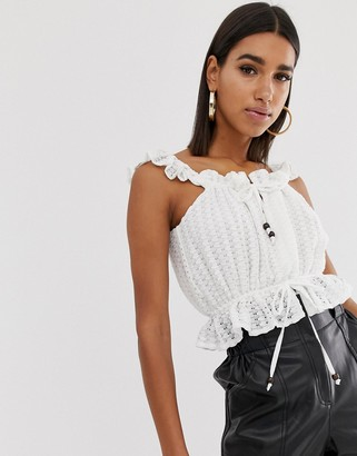 Fashion Union lace crop top with wooden ties-Cream