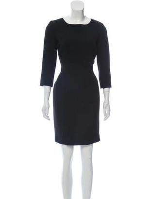 Oscar de la Renta Wool Sheath Dress Black