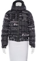 John Galliano Newspaper Print Puffer Coat