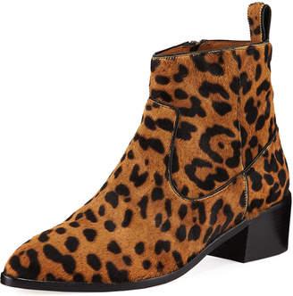 Veronica Beard Tanner Low-Heel Leopard-Print Booties