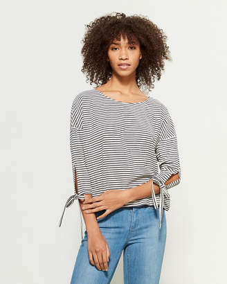 Apricot Navy & White Tie-Sleeve Striped Top