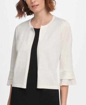 DKNY 3/4 Pleat Sleeve Cardigan
