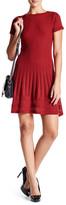 Max Studio Short Sleeve Boatneck Stitched Sweater Dress