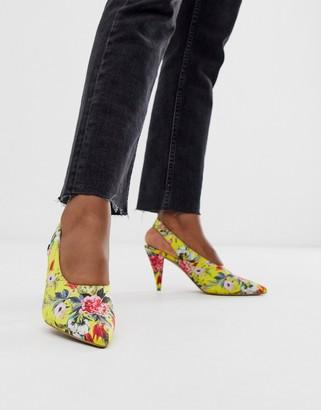 ASOS DESIGN Stormie slingback mid heels in floral
