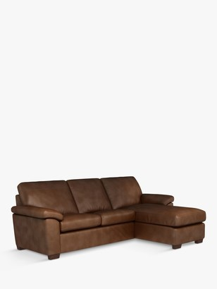 John Lewis & Partners Camden RHF Storage Chaise End Leather Sofa Bed, Dark Leg