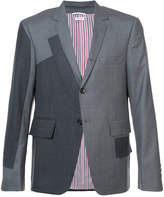 Thom Browne Pattern Patchwork Single Breasted Sport Coat In Grey Super 120's Twill
