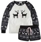 PJ Salvage Girls' Polar Fleece Reindeer Top & Shorts Set - Little Kid