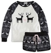 PJ Salvage Girls' Polar Fleece Reindeer Top & Shorts Set - Sizes 4-6