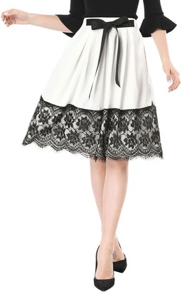 Allegra K Women's Vintage Tie Bow Front Contrast Lace Hem A Line Pleated Midi Skirt White M UK 12
