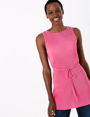 Marks and Spencer Plisse Straight Fit Longline Sleeveless Tunic
