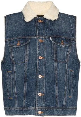 Filles a papa Sleeveless Sherpa Denim Jacket
