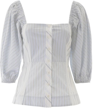 Ganni Striped Puff Sleeve Blouse