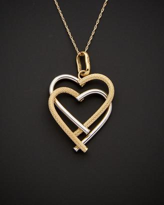 Italian Gold Fremada 14K Two-Tone Double Heart Pendant Necklace