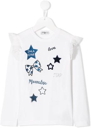 MonnaLisa Embroidered Star Print Top