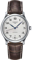 Longines L26284783 Master Collection Automatic Date Alligator Leather Strap Watch, Brown/silver
