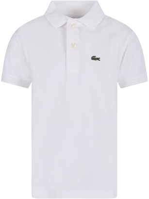Lacoste White Polo Shirt For Boy With Green Crocodile
